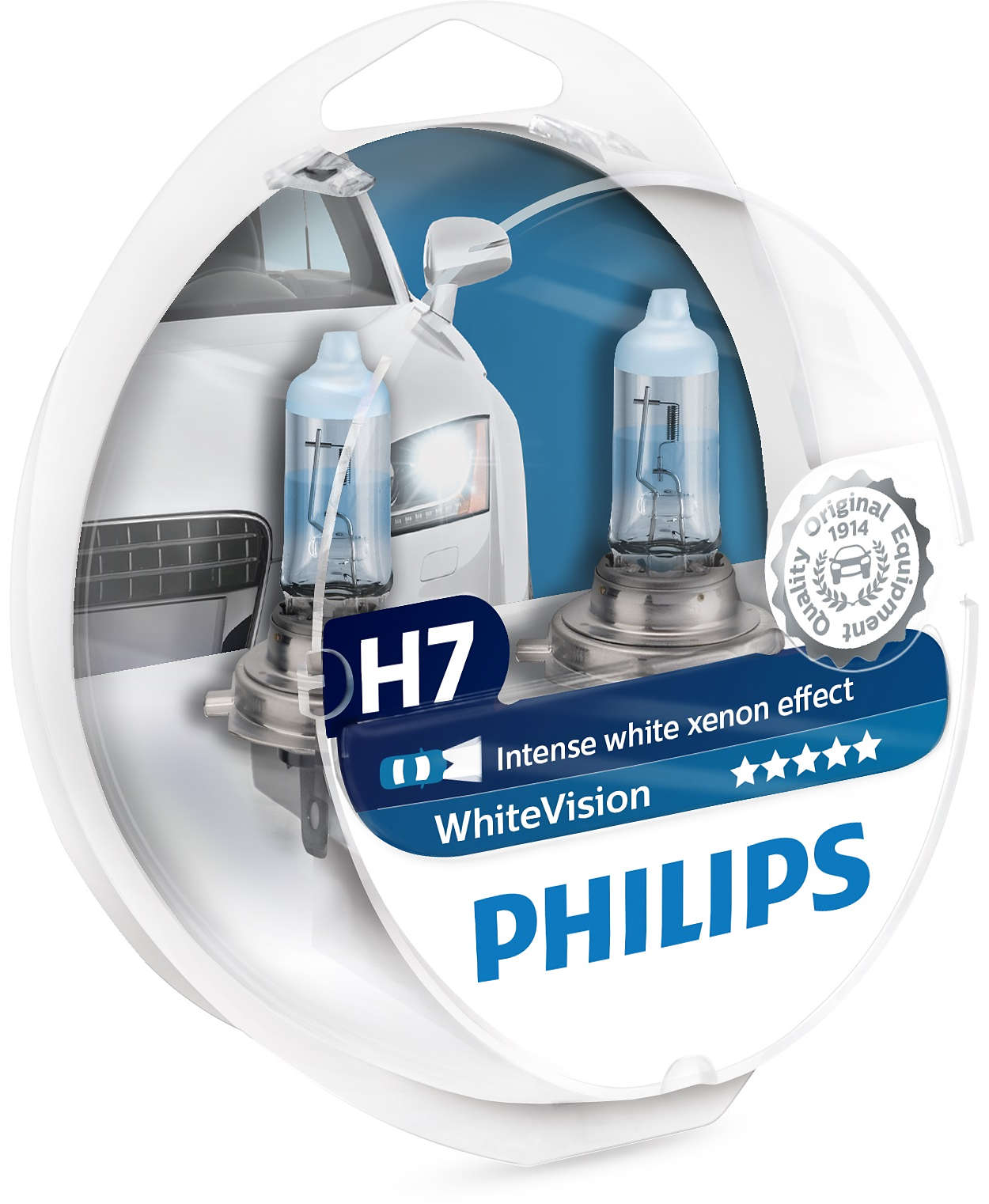 Philips White Vision H1/H4/H7 + W5W (12V) – up to 60% more light – up to  20% whiter light (3700K)
