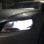 VW Passat B7 Osram H7 LEDriving Gen2 low beam + T10 LED position bulbs close up
