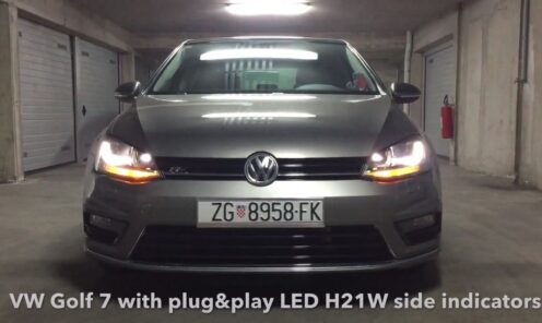 VW Golf 7 R line sa plug & play H21W LED žmigavcima