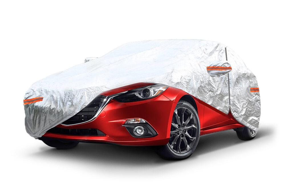 ALUMINIUM CAR COVER with ZIP, REFLECTIVE, 120g + cotton, Silver