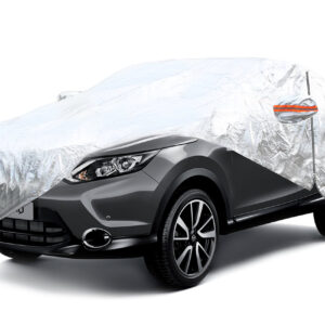 ALUMINIUM CAR COVER with ZIP, REFLECTIVE, 120g + cotton Silver size SUV-VAN